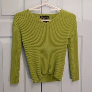 Lime green stretch ribbed sweater